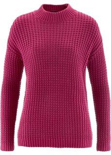 Пуловер с воротником-стойкой и структурным узором (ягодный) Bonprix