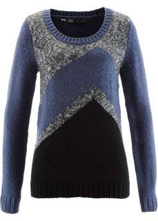 Пуловер (индиго/черный/антрацитовый меланж) Bonprix