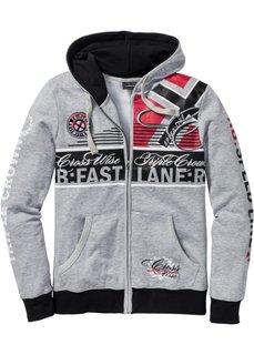 Трикотажная куртка Slim Fit (светло-серый меланж) Bonprix