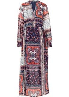 Обязательный элемент гардероба: длинное шифоновое платье (с принтом пэчворк/бордовый/темно-синий) Bonprix