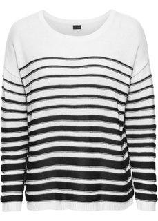 Пуловер с длинным рукавом (белый/черный в полоску) Bonprix