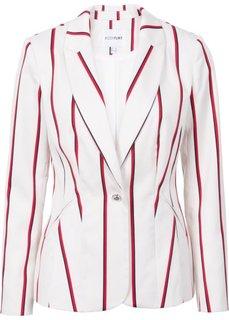 Жакет (цвет белой шерсти/красный/темно-синий в полоску) Bonprix