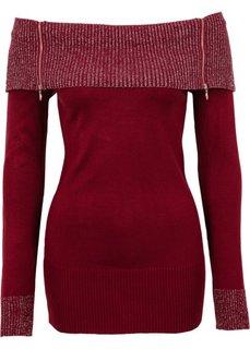 Вязаный пуловер (красный/серебристый) Bonprix