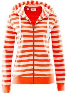 Трикотажная куртка (мандариново-красный/белый в полоску) Bonprix