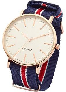 Часы на текстильном ремешке (темно-синий/красный) Bonprix