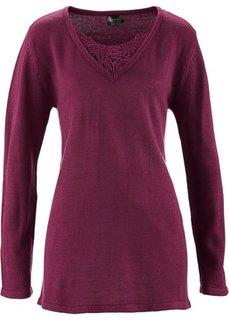 Удлиненный пуловер с кружевом (кленово-красный) Bonprix