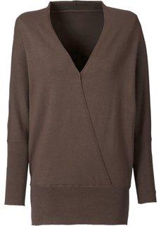 Пуловер с эффектом запаха (коричневый) Bonprix