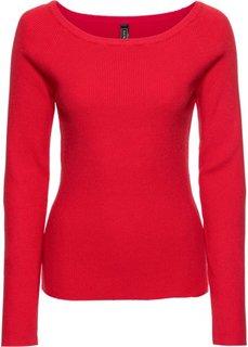 Пуловер в рубчик (клубничный) Bonprix