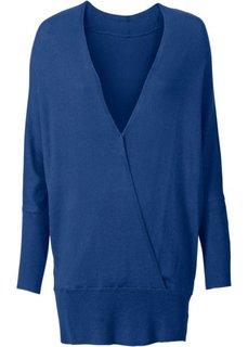 Пуловер с эффектом запаха (генцианово-синий) Bonprix