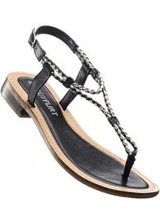 Кожаные сандалии (черный) Bonprix