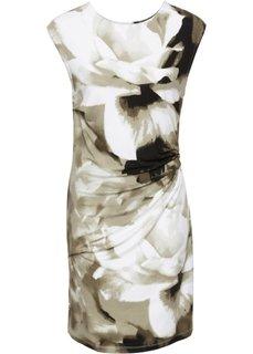 Трикотажное платье (оливковый в цветочек) Bonprix