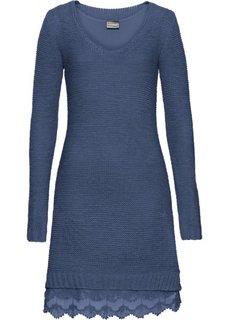 Вязаное платье с кружевными воланами внизу (индиго) Bonprix