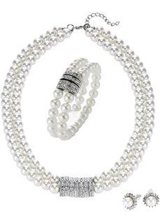 Колье + браслет + пусеты из декоративных жемчужин (3 изд.) (кремовый/серебристый) Bonprix