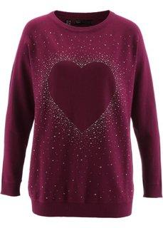 Удлиненный пуловер с сердцем из стразов (красная ягода) Bonprix