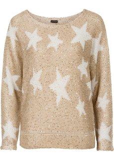 Вязаный пуловер (золотистый металлик/белый) Bonprix