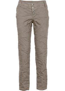 Свободные брюки с мятым эффектом (серо-коричневый) Bonprix