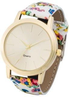 Часы с узорчатым браслетом (кремовый в цветочек/золотистый) Bonprix