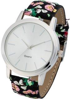 Часы с узорчатым браслетом (черный в цветочек/серебристый) Bonprix