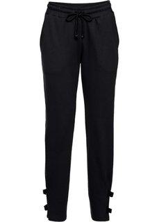 Трикотажные брюки с деталями в байкерском стиле (черный) Bonprix