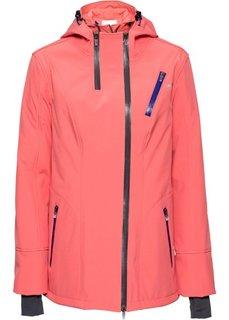 Куртка софтшелл стретч с капюшоном, на асимметричной молнии (коралловый) Bonprix