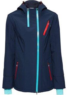 Куртка софтшелл стретч с капюшоном, на асимметричной молнии (темно-синий) Bonprix