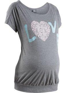 Мода для беременных: футболка с принтом сердечка (серый меланж) Bonprix