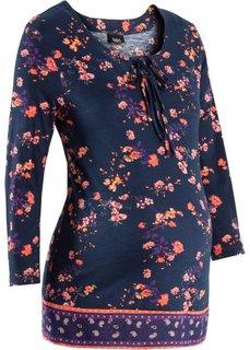 Для будущих мам: трикотажная блузка (темно-синий/мандариновый в цветочек) Bonprix