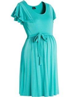 Праздничная мода для беременных: платье в горошек (зеленый океан) Bonprix