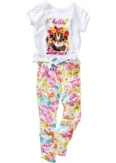 Футболка и брюки (2 изделия) (белый/различные расцветки с принтом) Bonprix