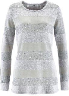 Пуловер с пайетками (серебристый матовый в полоску) Bonprix