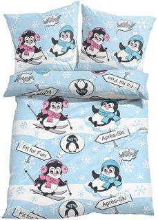 Постельное белье Пингвин, линон (нежно-голубой) Bonprix