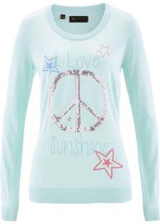 Пуловер с пайетками (пастельная мята/разноцветный с рисунком) Bonprix