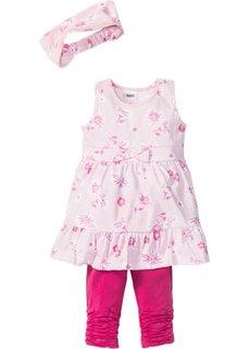 Платье + лента для волос + леггинсы (3 изделия) (нежно-розовый/ярко-розовый фламинго) Bonprix