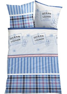 Постельное белье Домик у океана, линон (синий) Bonprix