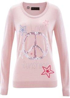 Пуловер с пайетками (нежно-розовый/разноцветный с рисунком) Bonprix