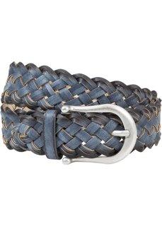 Широкий плетеный ремень с контрастными деталями (синий) Bonprix
