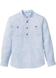 Рубашка с подворачиваемыми рукавами (нежно-голубой) Bonprix