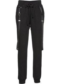 Спортивные брюки на подтяжках (черный) Bonprix