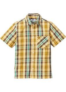Клетчатая рубашка с принтом (зеленый лайм/шафранно-желтый/дымчато-серый) Bonprix