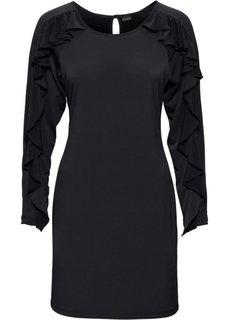 Трикотажное платье с воланами (черный) Bonprix