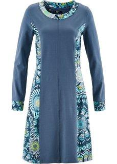Платье с длинным рукавом (индиго с рисунком) Bonprix