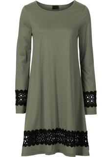 Трикотажное платье (оливковый) Bonprix