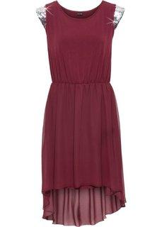 Трикотажное платье с аппликацией из пайеток (кленово-красный) Bonprix