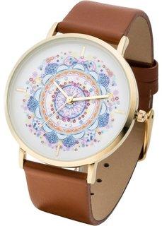 Часы с узорчатым циферблатом (коричневый/маджента) Bonprix