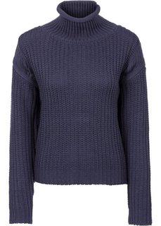 Вязаный пуловер с воротником-стойкой (синий) Bonprix