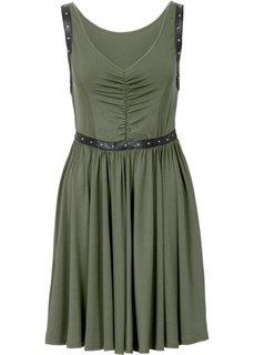 Платье с заклепками (оливковый) Bonprix