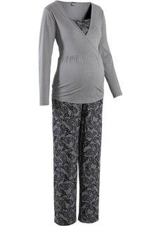 Пижама для будущих мам (серый/черный с рисунком) Bonprix