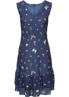 Платье с воланом (темно-синий с рисунком) Bonprix