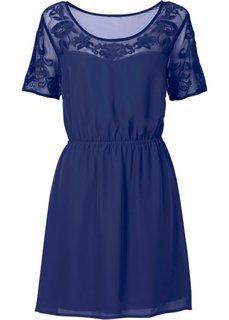 Платье с вставкой-сеточкой (темно-синий) Bonprix