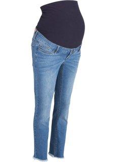 Мода для беременных: джинсы длины 7/8 с бахромой по нижнему краю (голубой) Bonprix